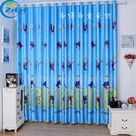 spiderman window curtains 1panel new american style spider man printed curtain