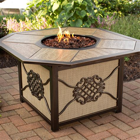 Oakland Living Heritage 5 Piece Deep Seating Chat Set With 5 Firepit Set
