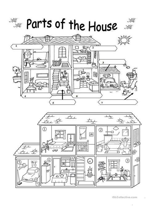 printable house worksheet parts of the house worksheet free esl printable