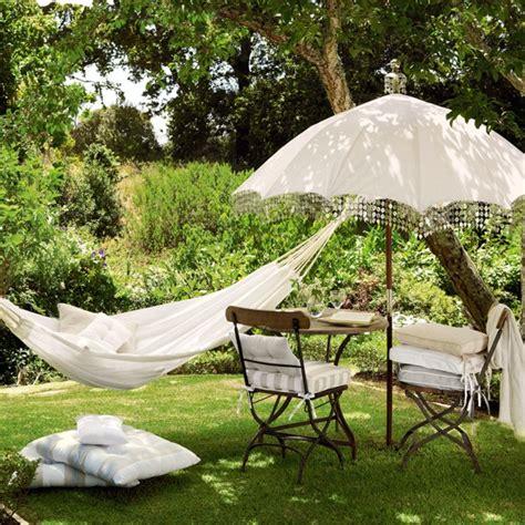 Pretty Hammock Garden Retreat With Hammock And Parasol Summer Ready
