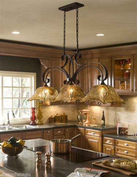 Country Kitchen Light Fixtures | tuscan tuscany bronze amber art glass kitchen island