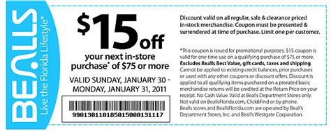 printable coupons bealls outlet bealls 15 off 75 printable coupon