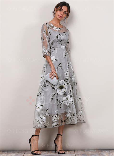 Sleeve Floral A Line Dress floral 3 4 sleeves midi a line dress floryday