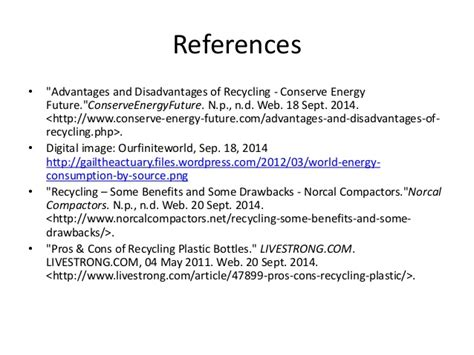 reference book advantages fys 158 pros and cons of recycling castillo hernandez