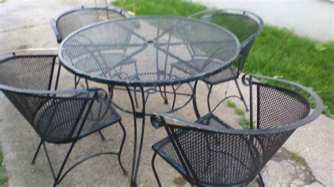 Rare Antique 5 Piece Scrolled Wrought Iron Outdoor Patio Vintage Wrought Iron Patio Furniture