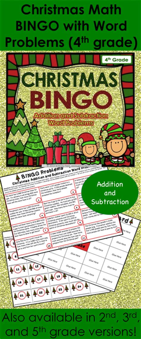 christmas math bingo game 4th grade