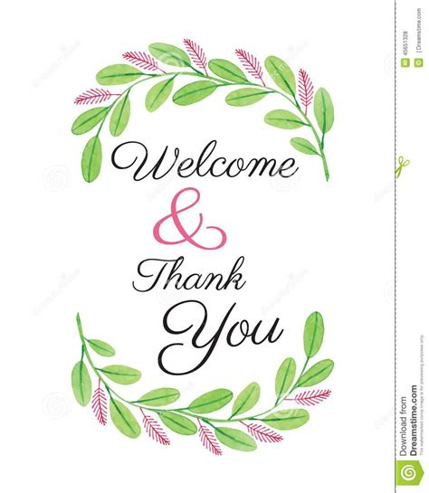 Welcome Card Design Template by Welcome Card Flower Design Watercolor Vector Stock