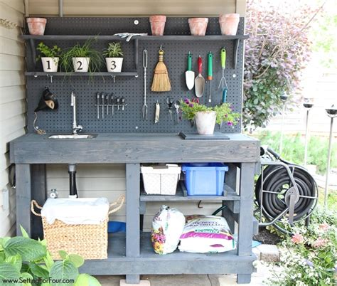 how to make a potting bench make it diy potting bench with sink setting for four