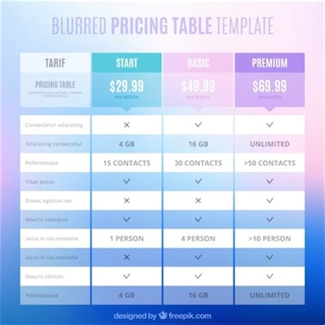 Pricing Table Vectors Photos And Psd Files Free Download Photoshop Table Template
