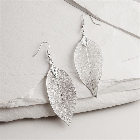 silver leaves earrings world market