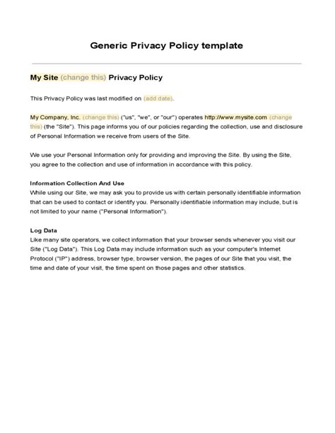 generic privacy policy template generic privacy policy template free