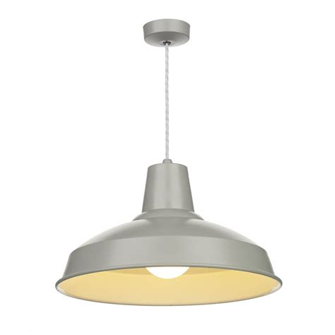 Gray Pendant Light Retro Style Grey Painted Metal Ceiling Pendant For Table Lighting