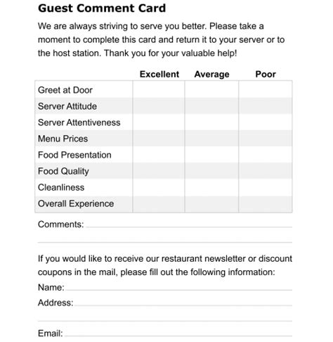 hotel comment card template 5 restaurant comment card templates formats exles in