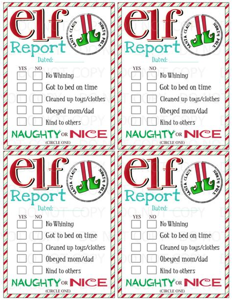 printable elf on the shelf report card printable elf s naughty or nice report for by