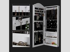 Wall/door-mount Mirrored Jewelry Cabinet Makeup Armoire ... Jewelry Armoire With Mirror