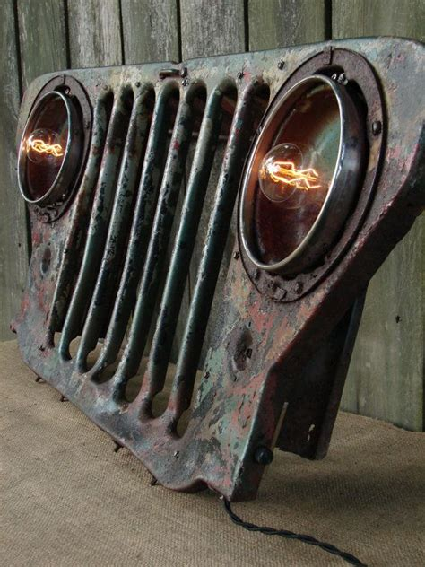 jeep wall art upcycled vintage jeep grill lighted wall decor