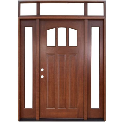 Steves Sons 64 In X 80 In Craftsman 3 Lite Arch Front Door With Transom