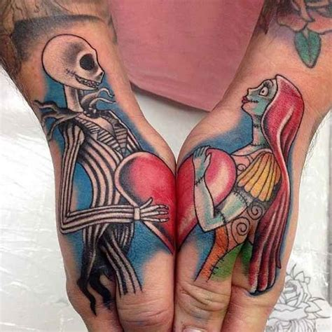 nightmare before christmas couple tattoos looking style colored nightmare before