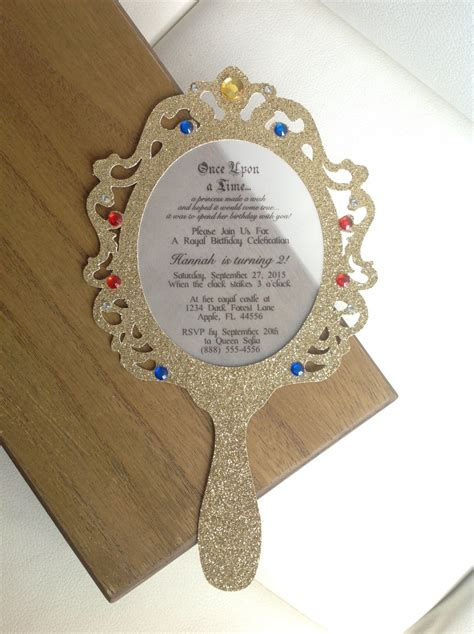 mirror will template princess mirror invitation set of 8