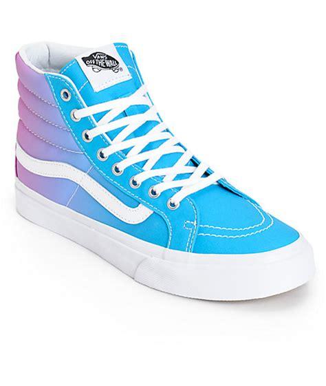 light blue vans high tops vans sk8 hi slim ombre hawaiian shoes womens at