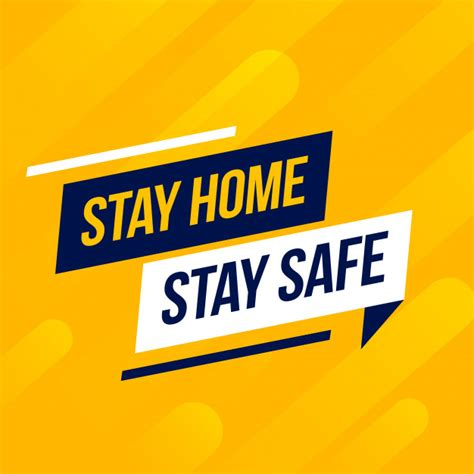 vector stay home stay safe message  yellow background