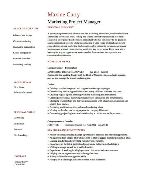 Marketing Resume by Marketing Resume Exles 47 Free Word Pdf Documents