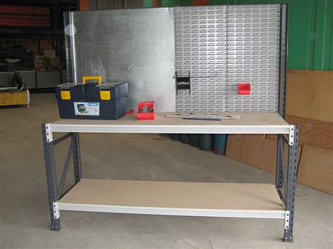 workbench with pegboard and light work novalok