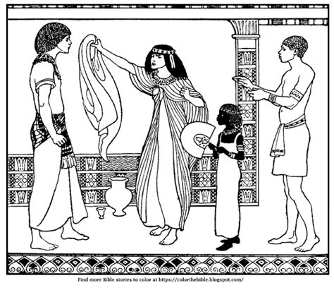 coloring page of joseph and potiphar color the bible