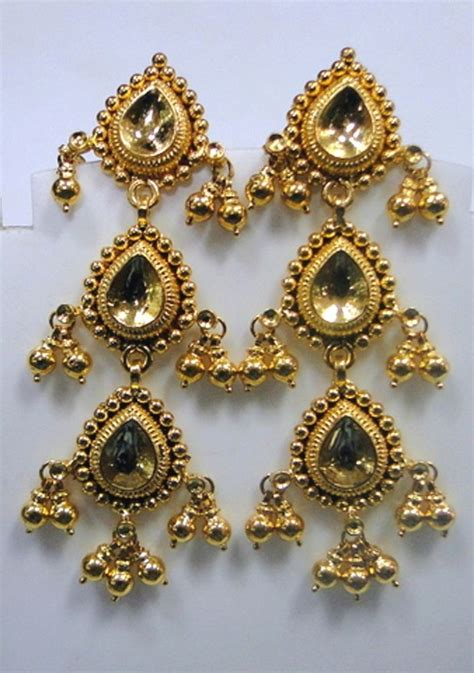 22k gold earrings designs traditional design 22k gold earrings rajasthan india