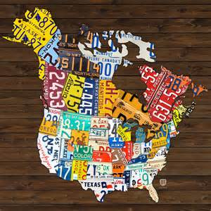 license plate map of america canada and united