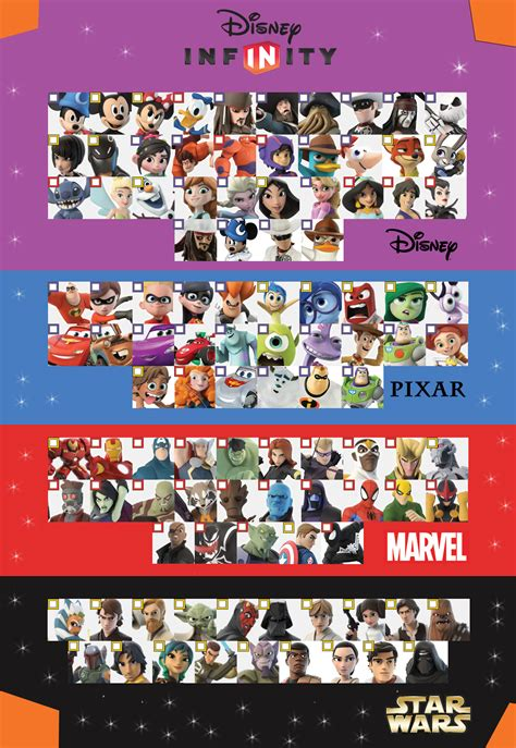 e infinity 0 disney infinity 3 0 character checklist version 2 by