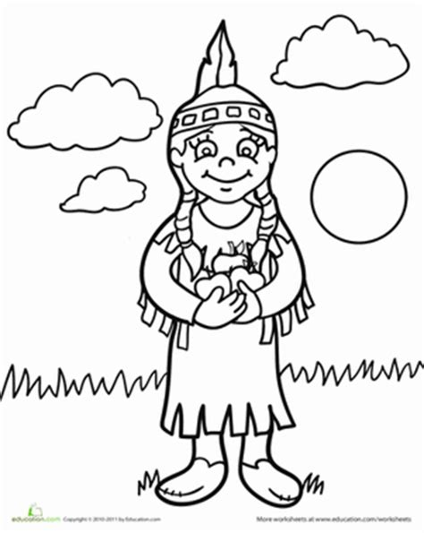 native american coloring pages for kindergarten color the native american girl