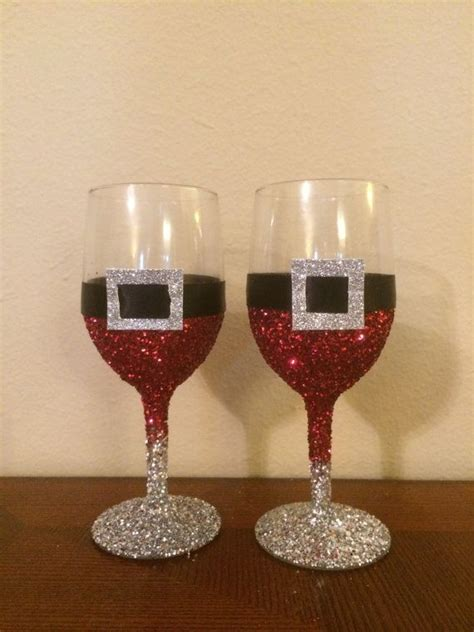 sparkle light christmas glasses glitter santa decoration wine glasses all things vintage santa wine and decoration