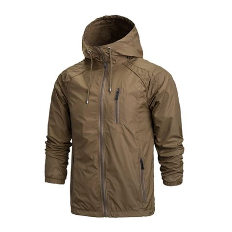 mens outdoor jacket hooded waterproof windbreaker sports