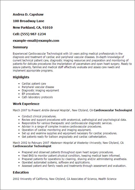Cath Lab Technician Resume Sle Professional Cardiovascular Technologist Templates To Showcase Your Talent Myperfectresume