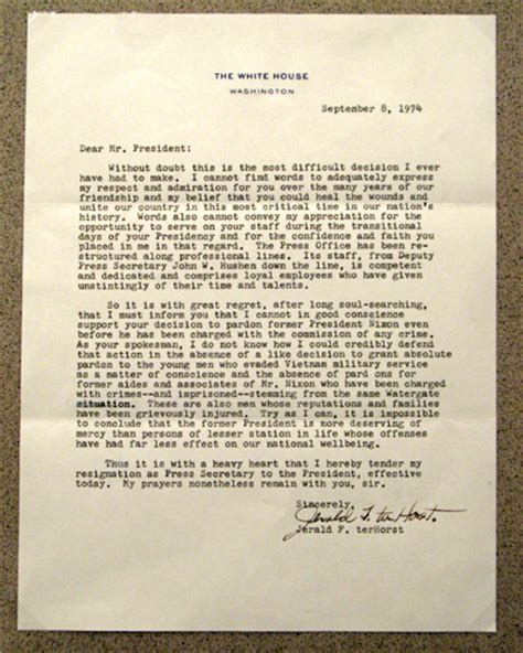 Nixon Resignation Letter Pdf Replica Quot Nixon Pardon Letter Quot Actually Signed By Gerald Ford Images Frompo