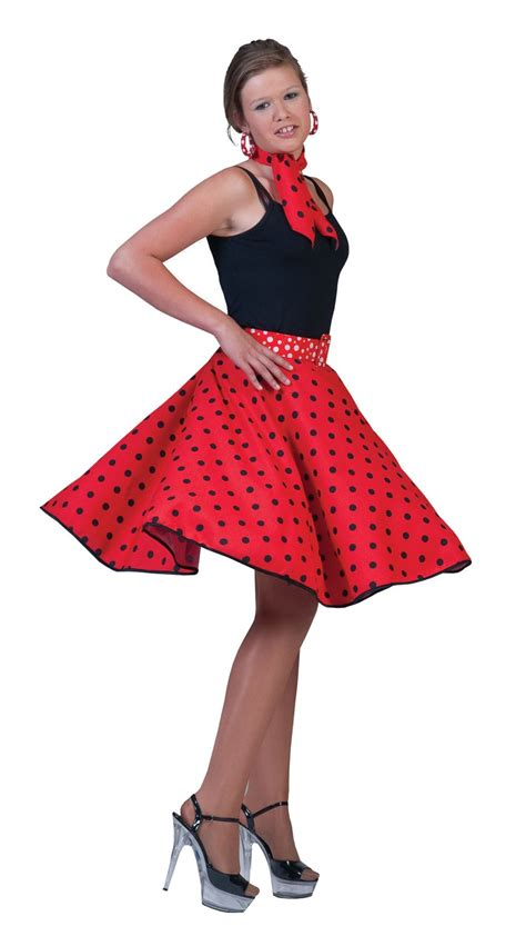 50 theme costumes hairdos ladies polka dot rock n roll skirt scarf 50s 60s fancy