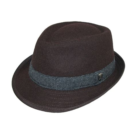Fedora Hats mens wool blend fedora hat with herringbone band by dorfman pacific fedora hats headwear at