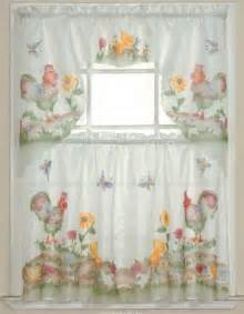 Chicken Kitchen Curtains Buy 3pc Rooster Sunflower Butterfly Kitchen Cafe Curtain Tier And Swag Set In Cheap Price