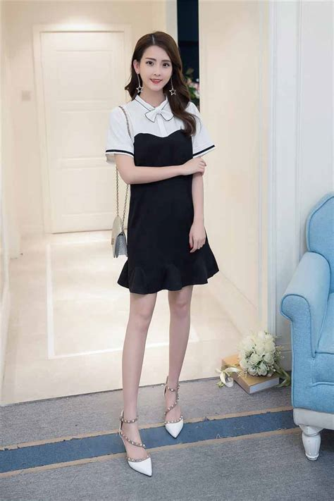 Dress Hitam Putih dress wanita lengan pendek hitam putih myrosefashion