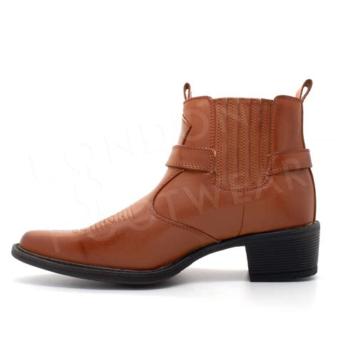 new mens western cowboy ankle boots cuban heel slip on