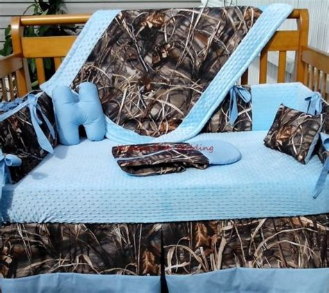 Real Tree Max 4 Advantage Camouflage And Baby Blue Crib Camouflage Crib Bedding Set