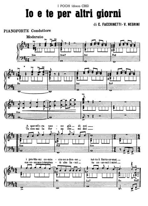 tutorial piano i giorni io e te per altri giorni pooh piano sheet music guitar