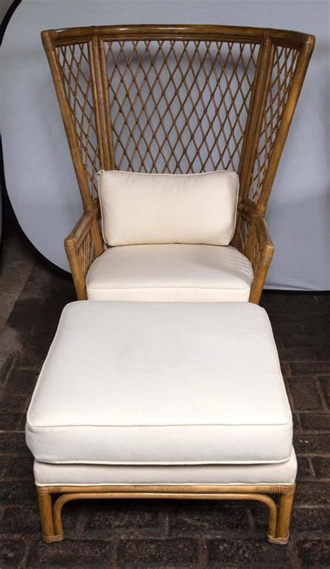 high back chair with ottoman pair high back bamboo chairs with ottomans at 1stdibs
