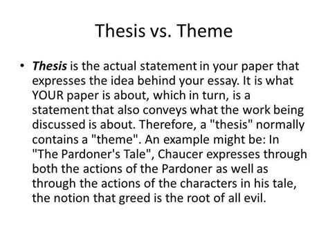 theme thesis exles thesis statements ppt video online download