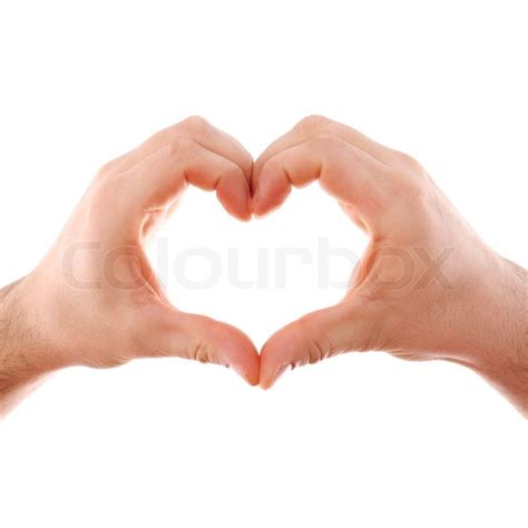 images of love symbol in hands male hands isolated on white with heart symbol stock
