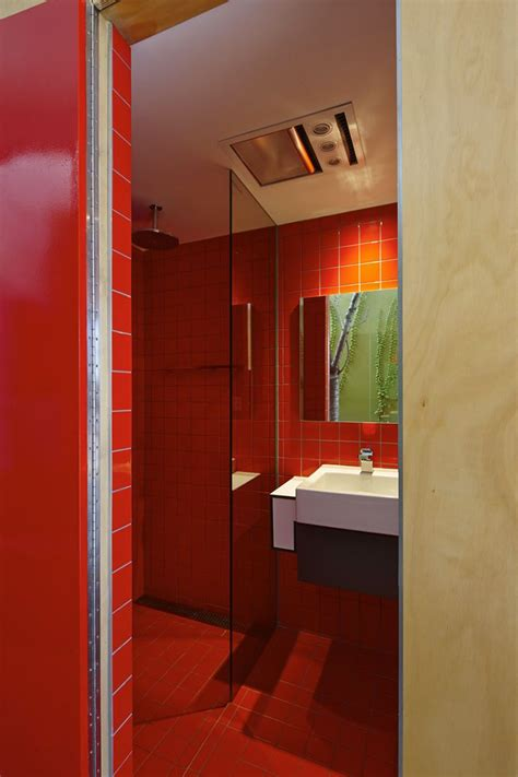 bathroom red tiles modern melbourne house with a japanese maple at its heart