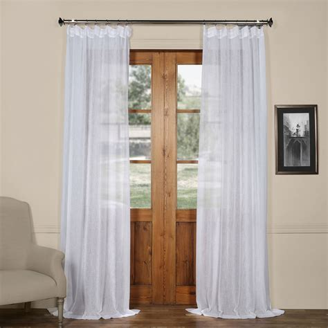 white linen curtains 96 aspen white solid faux linen 50 x 96 inch sheer curtain