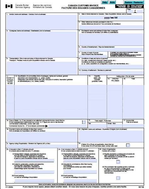 sle invoice canada free canada customs commercial invoice template form ci1