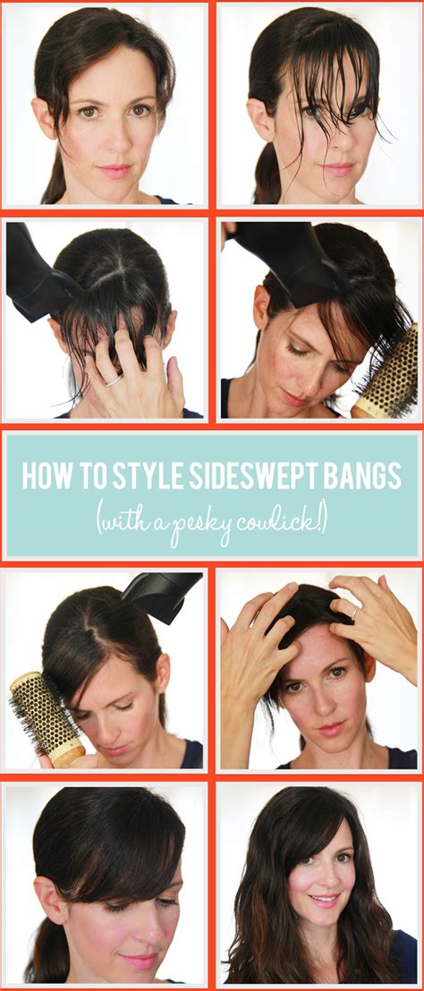 how to cut bang step by step process with picture sideswept bangs control your cowlicks whoorl